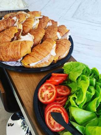 Croissant sandwiches for lunch