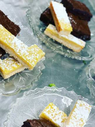 Lemon bars and brownies on little plates